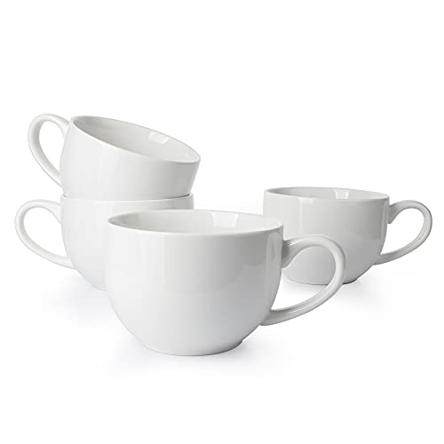 Sweese 622.401 Jumbo Mug Set- 24 Ounce Porcelain Mugs for Soup, Coffee, Tea, Ice Cream, Cereal, Set of 4, White