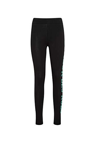 Boxeur Des Rues - Basic Black Leggings with Mint-Green Glitter Print, Woman