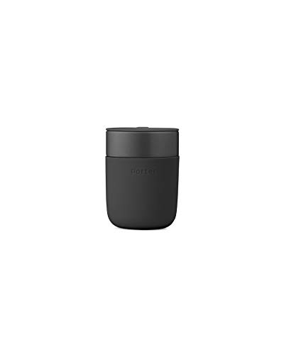 W&P Porter Ceramic Mug w/ Protective Silicone Sleeve, Charcoal 12 Ounces | On-the-Go | Reusable Cup for Coffee or Tea | Portable | Dishwasher Safe