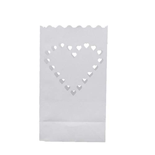 20pcs Luminaria Paper Lanterns Tea Light Candle Bag Flame Resistant Paper for Wedding Party Supplies(Big Heart)