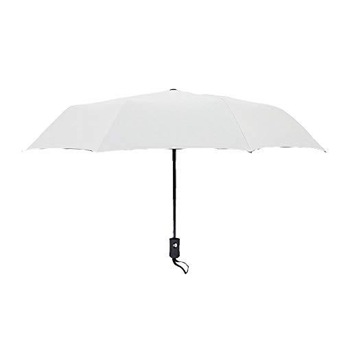 MMWW Fully Automatic Folding Umbrella, Three Folding Umbrella, Business Rain and Rain-Creamy-White