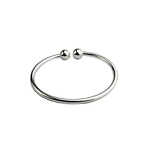 1 unid mujer 925 plata de ley pulsera sólida abierta brazalete pulsera joyería para mujeres y niñas pulsera de moda