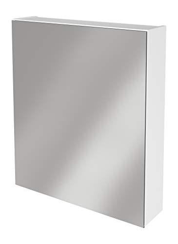 Lanzet Spiegelschrank L0 / Badschrank mit Spiegel/Maße (B x H x T): ca. 60 x 68 x 14,5 cm/Möbel fürs Bad oder WC/hochwertiger Schrank mit 1 Tür/Türanschlag Links/Korpus: Weiß Glanz