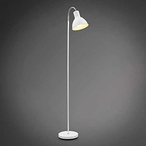 B.K.Licht Lampada da terra, piantana elegante con paralume orientabile, altezza 1.450mm, adatta per 1 lampadina E27 non inclusa, interruttore a pedale, lampada a stelo vintage industriale, bianca IP20