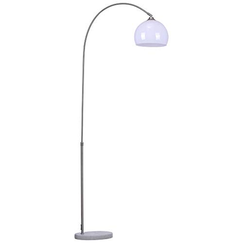 INMOZATA Arched Floor Lamp Marble Base Metal Finish Curved Floor Light Reading Light Height Adjustable for Living Room Bedroom (White, 130-180cm)