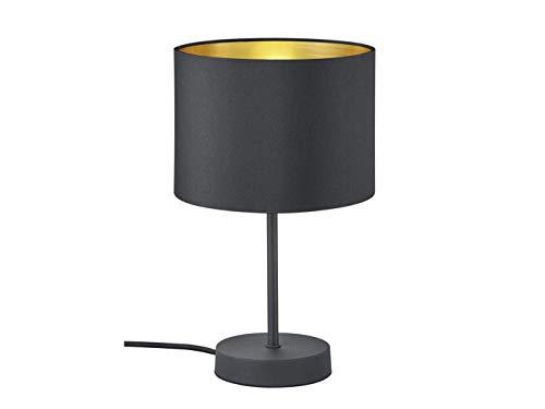 Lampe de table LED décorative 33 cm avec abat-jour en plastique Ø 20 cm Noir & intérieur doré – Ambiente lumineuse unique avec filament LED au design élégant