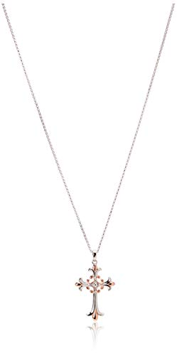 """14k Rose Gold Plated Sterling Silver Two Tone Celtic Cross Pendant Necklace, 18"""""""