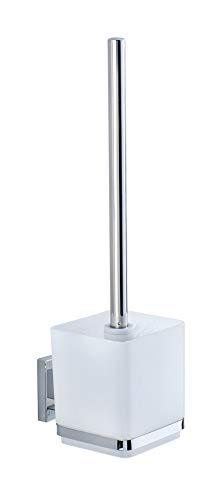 WENKO Vacuum-Loc Wand WC-Garnitur Quadro, Toilettenbürste mit offenem Bürstenhalter, Wandhalterung ohne bohren für das Bad, rostfreier Edelstahl mit Kunststoffeinsatz in Weiß, 9.5 x 37 x 12.5 cm