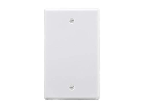 Monoprice 1-Gang Blank Wall Plate - White for Home,Office, Personal Install