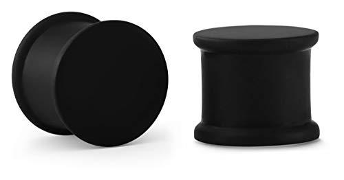 Crazy Factory® - 2 dilatatori in silicone   3 colori   4 mm - 36 mm + piercing + orecchio + conveniente + Basic + top qualità e silicone, 0, colore: Nero , cod. SPL-A18BK