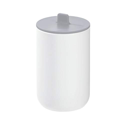 Price comparison product image iDesign Storage Box with Lid,  Small Bathroom Storage Pot for Cosmetics and Make-Up,  Round Plastic Cotton Bud and Cotton Pad Holder for the Bathroom,  White / Grey
