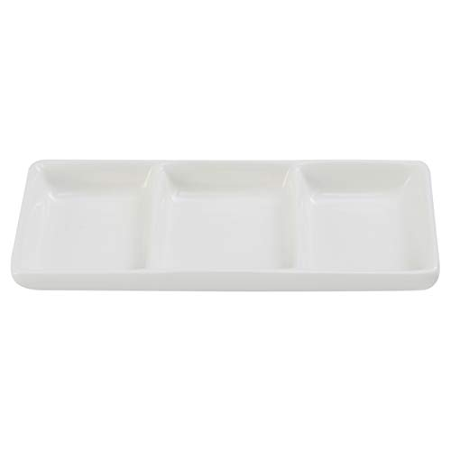 BESTonZON White Ceramic Serving Platter 3 Compartment Appetizer Serving Tray Rectangular Divided Sauce Dishes for Home Hotel Restaurant Kitchen Spices Vinegar Nuts(15cm x 6.5cm/White) (3 Section Ceramic)