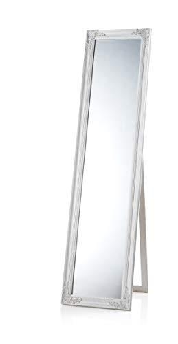 Montemaggi Standspiegel mit Neigung, aus Holz, weiß, matt, sehr schöner Spiegel im Shabby-Chic-Stil, Maße: 45 x 10 x 4 cm weiß