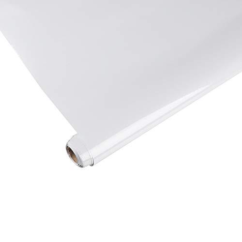 AWNIC Carta Adesiva per Mobili Carta da Parati Vinilica per Adesivi Decalcomanie Pareti Porte Tavola Armadio Rotolo di Plastica Bianco 300X40cm