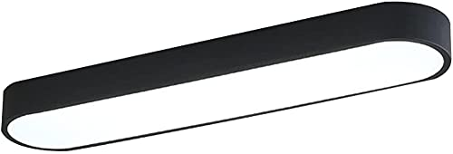 Lámpara de techo LED de moda Simplicidad Lámpara de techo rectangular para cocina Pasillo Bar Hierro forjado Baño Iluminación de techo empotrada Dormitorio Luces-65cm_Black_Warm_Light