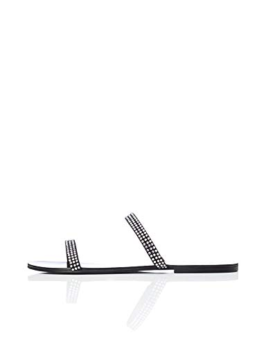 find. Two Band Sparkly Sandalias con Punta Abierta, Negro Black, 36 EU