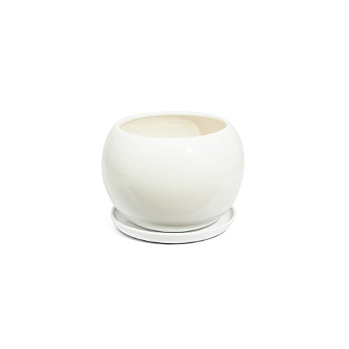 Vaso SFERA in ceramica con sottovaso, diametro foro 9,5 cm, colore: bianco
