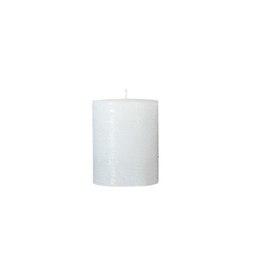 Rustico durchgefärbte, strukturierte Stumpenkerze 100/100mm weiß | Brenndauer: ca. 80 Std | Original von Steinhart