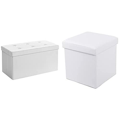 Songmics Lsf106 Baúl Puff - Taburete para Almacenaje Plegable Carga Máxima De 300 Kg Blanco, 76 X 38 X 38 Cm + Banqueta Plegable con Compartimento para Almacenaje, Color Blanco Lsf103