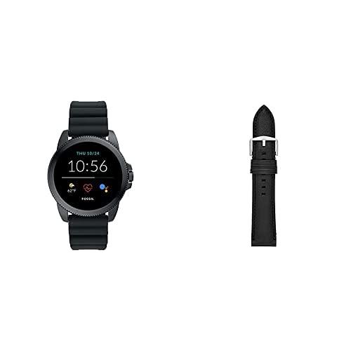 Fossil Connected Smartwatch Gen 5e para Hombre con tecnología Wear OS de Google, frecuencia cardíaca, NFC y notificaciones smartwatch + Correa de Reloj S221254, Negro