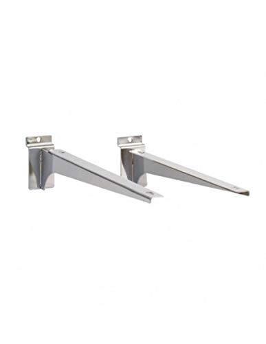Par de soportes para estantes cromados para panel de lamas para armario, armario, decoración, tiendas