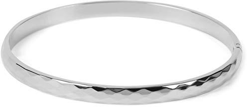 styleBREAKER Dames RVS armband met diamanten reliëf op het oppervlak, clip sluiting armband, sieraden 05040181