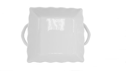 Cook Pro White Ruffled Square Stoneware & Bakeware Dish, 7.5' x 7.5' x 1.73', Sturdy Ceramic That is Lead and Cadmium Free
