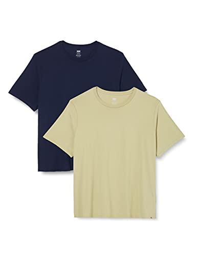 Levi's Big and Tall Big 2 Pack tee Camiseta, 2 Paquetes de té Slim Crew Tea/Peacoat, XXL para Hombre