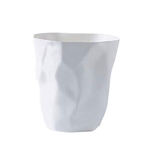 LOMJK Papeleras Bote de Basura de plástico de Basura de Diamante for el Dormitorio Sala de Estar Bote de Basura Bote de Basura de Cocina Bote de Basura Cubos de Basura (Color : White)