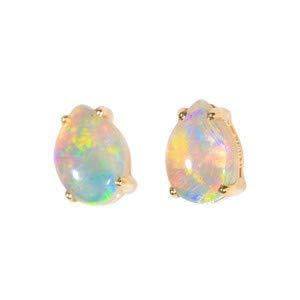Ohrstecker, 14 Karat Gold, natürlicher australischer weißer Opal