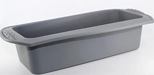 Molde de Silicona Rectangular - Molde para Bizcochos Antiadherente - Práctico para Hornear Bizcochos, Brownies, Postres, Pan - Apto para Horno, Microondas y Congelador - En Rojo, Azul, Gris y Rosa