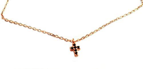 Collier Kreuz Mini Halskette 925er-Silber rosévergoldet 4/5 mm/ca. 42-45 cm lang Schwarze Spinelle+ Geschenksäckchen