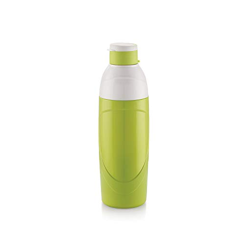 Cello Insulated Kids BPA Free Water Bottle 20 Oz (600 ml) Puro Classic Easy Carry Ergonomic Bottle with Wide Mouth and Easy Flip Top Cap for Office, Gym, Running Reusable Drinking Containerby (Green)