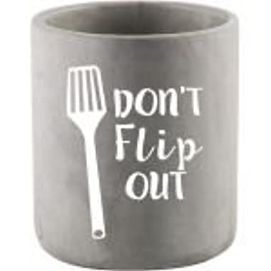 Modern Cement Covered Ceramic Utensil Container- Utensil Crock- with a Touch of Humor