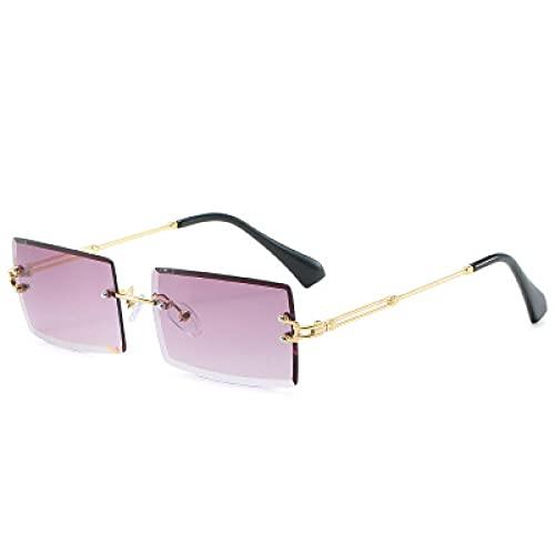 Secuos Gafas De Sol Rectangulares Sin Montura para Mujer, Gafas Cuadradas De Marca A La Moda, Gafas De Sol para Hombre Y Mujer, Uv400, Gris Dorado