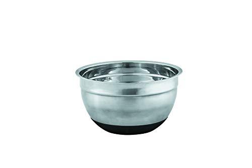 Avanti Stainless Steel Anti-Slip Mixing Bowl with Black Silicone Bottom, 18 cm Diameter, Silver/Black