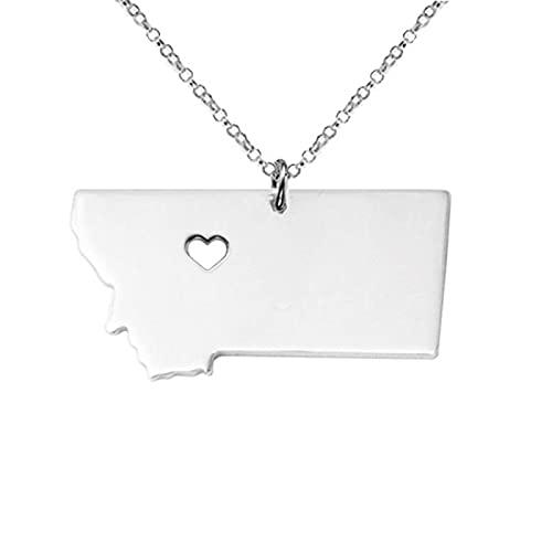 Collar Montana con dije de oro rosa con forma de mapa de Montana y accesorios para adorno