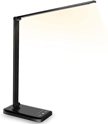 Maxk Lámparas Para Mesa De Noche, Lámpara De Mesa, Lámpara De Escritorio Led Lámpara De Lectura De Lámpara De Mesa Con Puerto De Carga USB 5 Modos De Iluminación 5 Niveles De Brillo, Control Sensible,