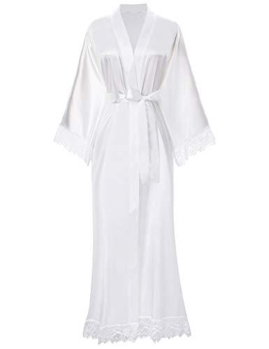 ArtiDeco Kimono Vestido Puramente Blanco Bata para Novia Dama de Honor Pijama para Boda Fiesta de Chicas