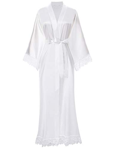 ArtiDeco Damen Morgenmantel Maxi Lang Seide Satin Kimono Kleid Einfarbiger Bademantel Damen Lange Robe Schlafmantel Girl Pajama Party 135 cm Lang (reines Weiß)