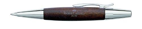 Faber-Castell 148381 - Drehkugelschreiber e-motion Birnbaum / Chrom, Mine: B,  Schaftfarbe: dunkelbraun / silber