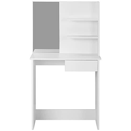 Ailao Ailao - Tocador con espejo cuadrado, cajón y compartimentos sencillos, tocador con armario para maquillaje para mujeres y niñas