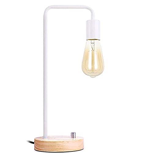 MAVL Lámpara de Escritorio Industrial, lámpara de Mesa de Bombilla de Edison Vintage para Dormitorio, Oficina, Dormitorio, Sala de Estar Blanco, Negro (sin Bulbo) (Color : Blanco)