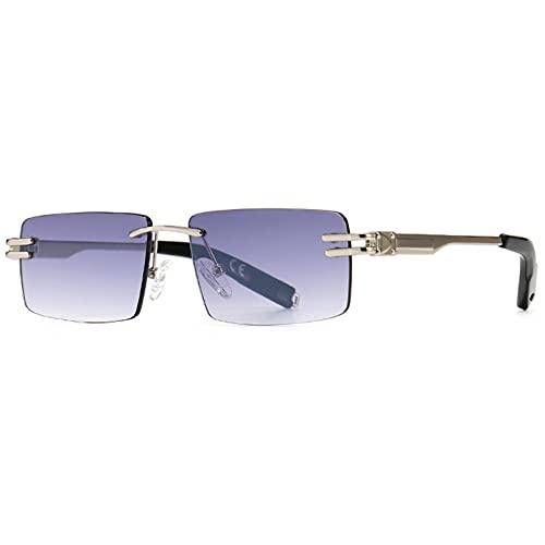 Tanxianlu Gafas de Sol rectangulares Retro sin Montura para Hombre, Gafas de Sol cuadradas de Metal Dorado para Mujer, Gafas de Sol cuadradas para Hombre sin Marco Uv400, F