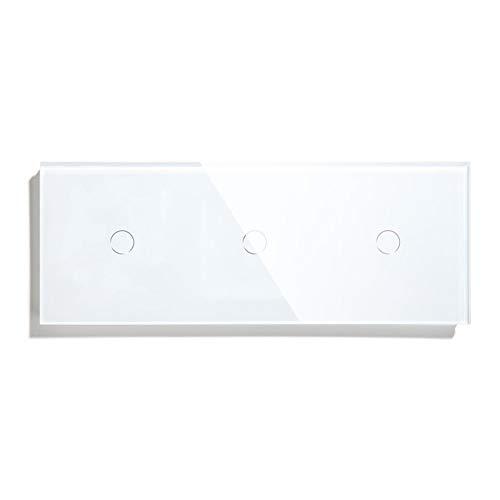 DJNCIA Panel de interruptores Interruptor de luz táctil 3 Sensor de Pantalla táctil de Panel de Vidrio Interruptor del Sensor 1WAY Blanco Blanco Blanco Oro NETRO estándar para Oficina en casa
