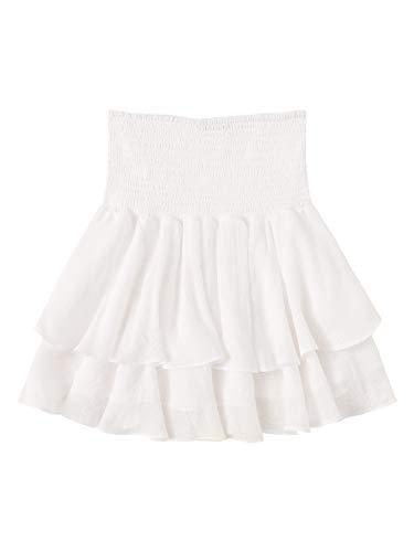 SheIn Women's Solid Shirred High Waist Layered Ruffle Hem Flared Mini Skirt White S