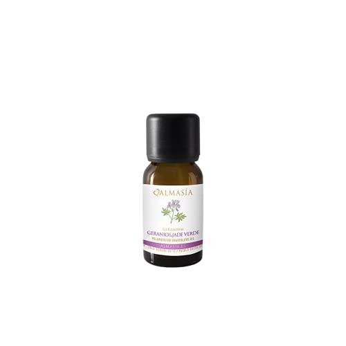 Aceite Esencial de Geranio - 15 ml - Acción Antiinflamatoria - Ayuda a Regular el Sistema Hormonal - Equilibra Cuerpo, Mente y Alma - Con la Gema Jade Verde - 100% Natural - Almasía