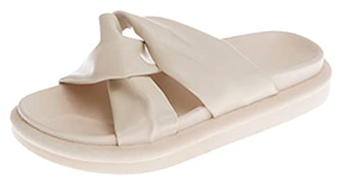 SDKB Zapatillas de mujer con fondo plano de moda de fondo grueso, resistentes al desgaste, antideslizantes, cómodas, sandalias de playa y zapatillas, color Beige, talla 39 EU