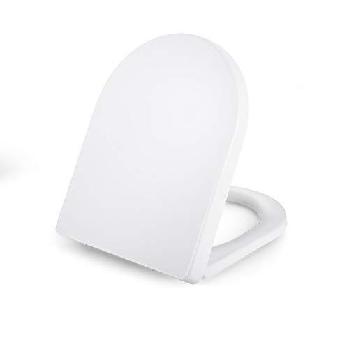 Dalmo Premium Klositz D-Form WC Sitz Duroplast Klodeckel, verdickter Toilettendeckel mit Absenkautomatik, Quick-Realse Funktion, Toilettensitz für einfache Installation und Reinigung, Klobrille, weiß
