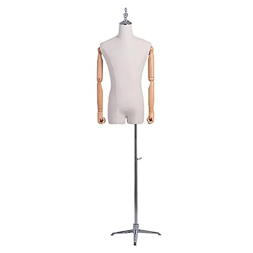 LJHA Maniquí Maniquí Masculino de FRP, Modelo de Torso Ficticio con Exhibición de Camisa y Pantalón, Forma de Vestido de Tienda con Pinnable Blanco Mediano, Maniquí de Exhibición de Joyería de Vestir
